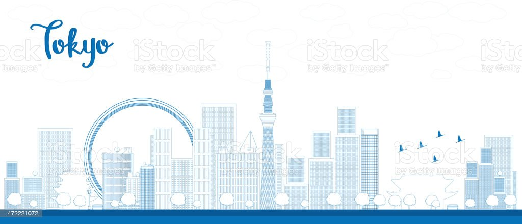 Outline Tokyo skyline with skyscrapers and sun vector art illustration