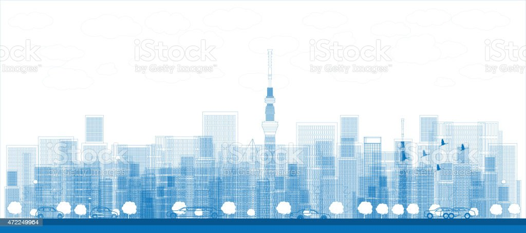 Outline Tokyo skyline with skyscrapers vector art illustration