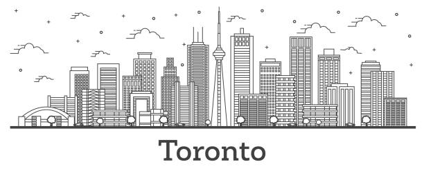 outline toronto canada city skyline with modern buildings isolated on white. - toronto stock illustrations