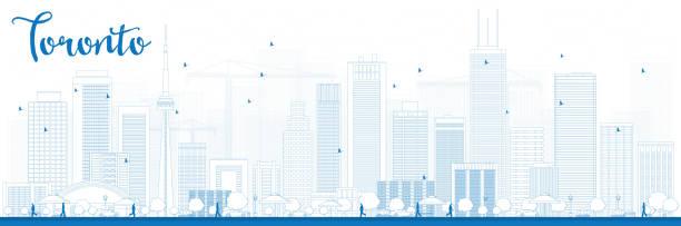 outline toronto skyline with blue buildings - toronto stock illustrations