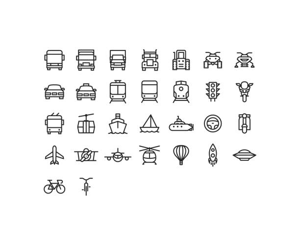 stockillustraties, clipart, cartoons en iconen met overzicht transport pictogrammen - trein