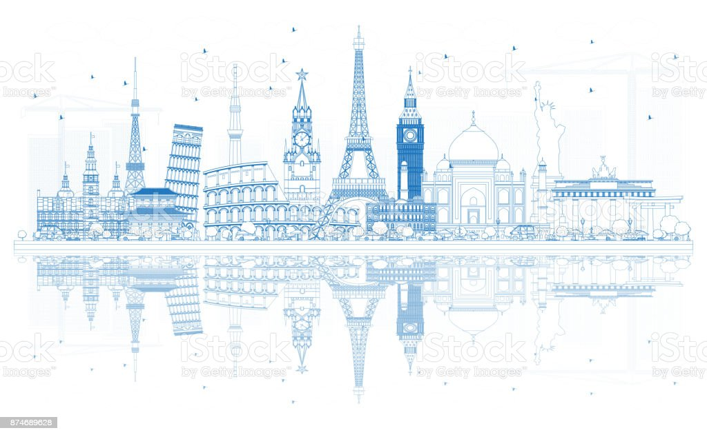 Outline Travel Concept Around the World with Famous International Landmarks. vector art illustration