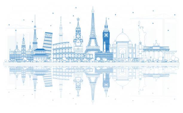 Outline Travel Concept Around the World with Famous International Landmarks. vector art illustration