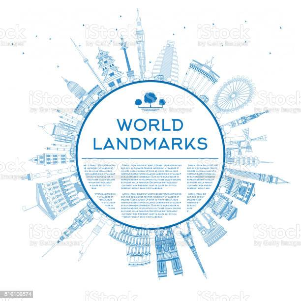 Outline travel concept around the world with famous landmarks vector id516106574?b=1&k=6&m=516106574&s=612x612&h=yd0hwvgvs692b gr3xhwyhaaaltk8l 746agydskhcg=