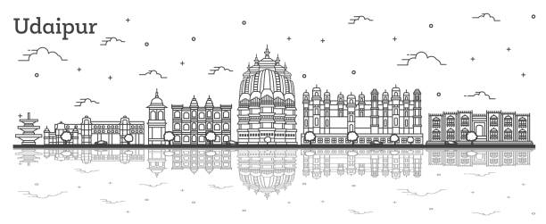 Outline Udaipur India City Skyline with Historical Buildings and Reflections Isolated on White. Outline Udaipur India City Skyline with Historical Buildings and Reflections Isolated on White. Vector Illustration. Udaipur Cityscape with Landmarks. udaipur stock illustrations