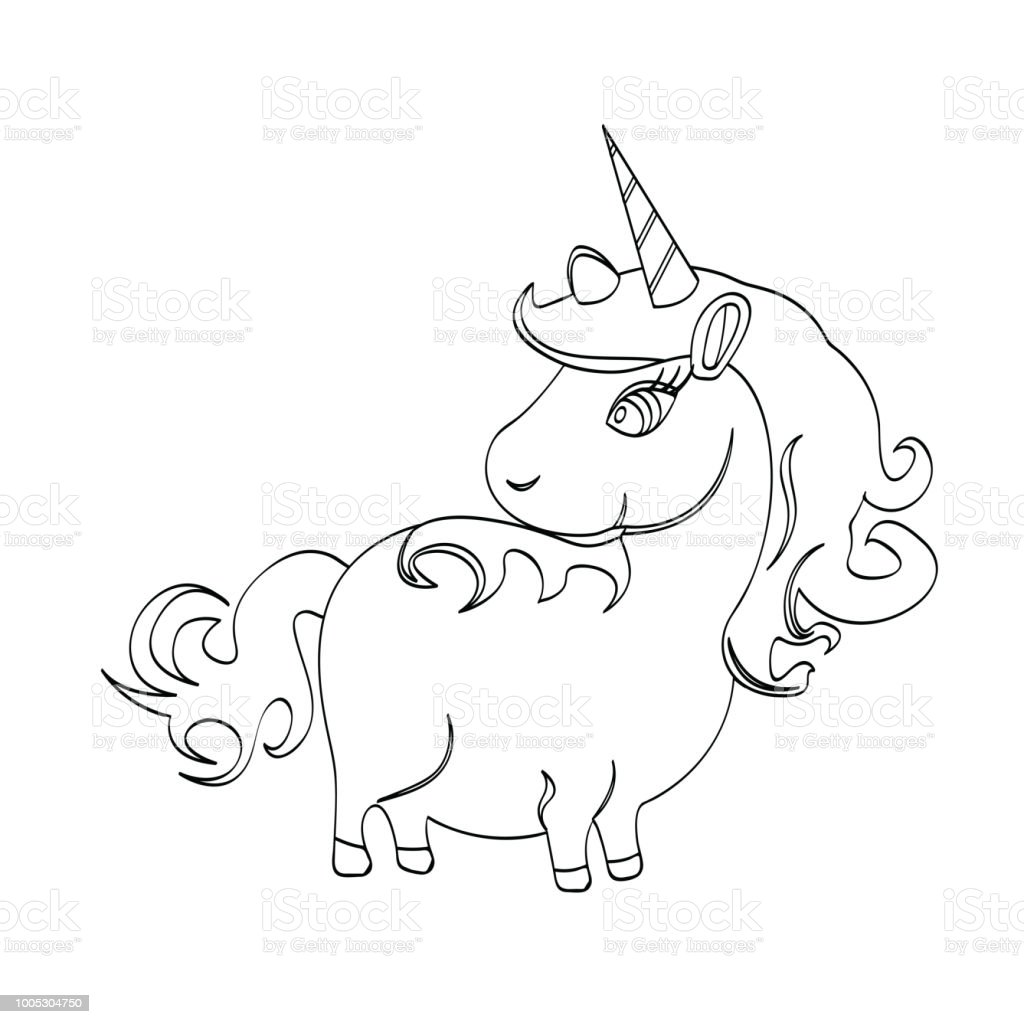 Outline Unicorn Cartoon Animal For Kids Drawing Vector Illustrations Of Hand Drawn Horse Educational Children Painting Game Stock Illustration Download Image Now Istock