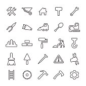 25 outline, universal construction icons
