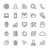 25 outline, universal development icons, thin, black on white background