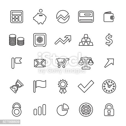 25 outline, universal finance icons, thin, black on white background