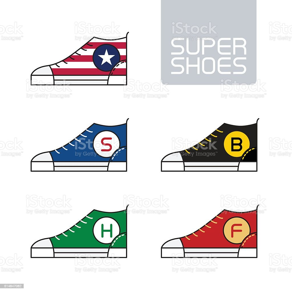 Outline urban super shoes. Vector Stylized sneakers. Sport icon, vector art illustration