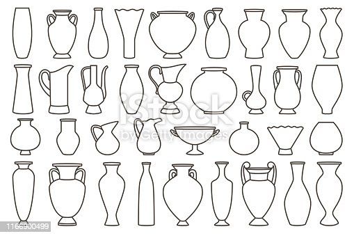 istock Outline vases and amphora collection, vector linear 1166900499