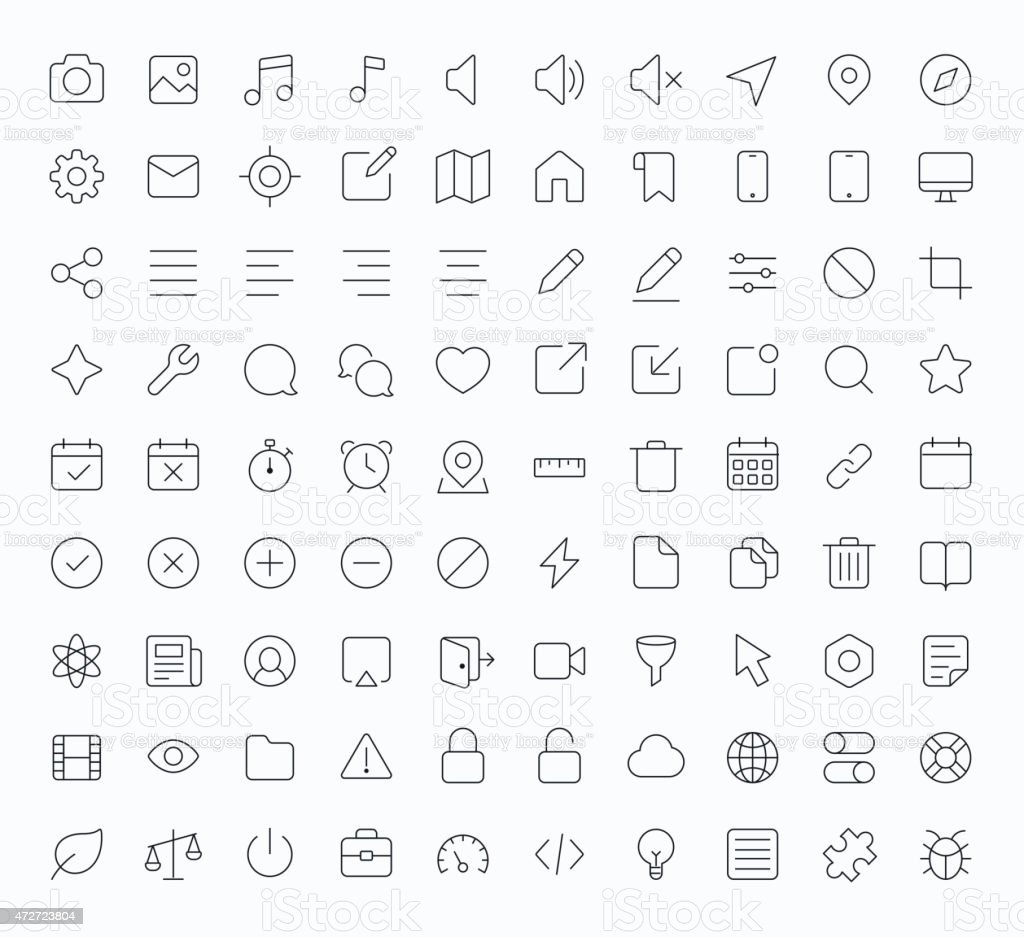 Outline vector icons for web and mobile vector art illustration