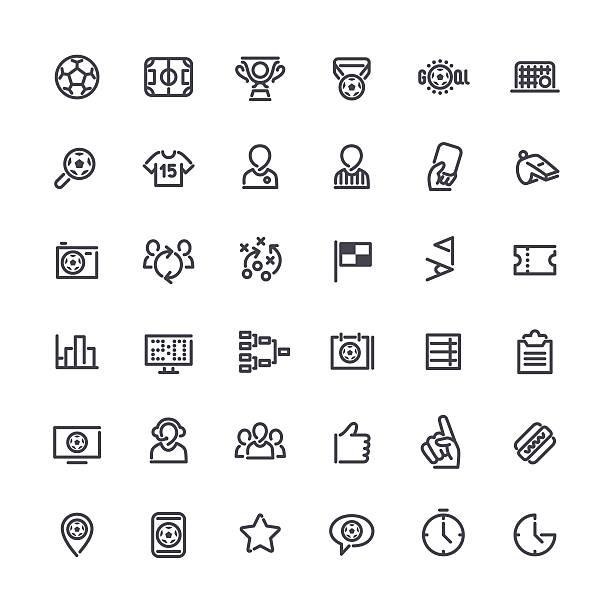 kontur, vektor-icons auf das thema fußball - fussball fan stock-grafiken, -clipart, -cartoons und -symbole