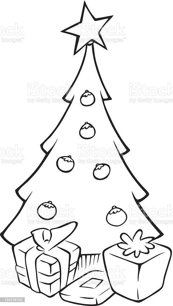 Christmas Tree Outline Stock Vector Art More Images Of Art Istock