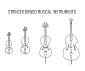 Outline Vector StringedBowed Musical Instruments