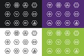 Outline vector UI technology icons set