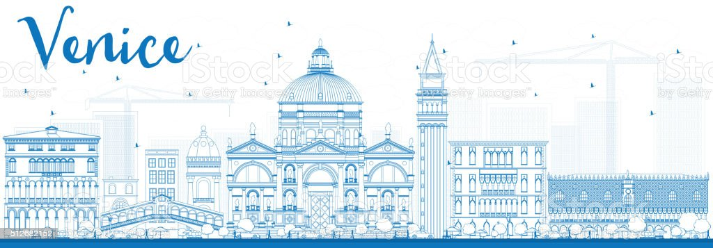 Outline Venice Skyline Silhouette with Blue Buildings. vector art illustration