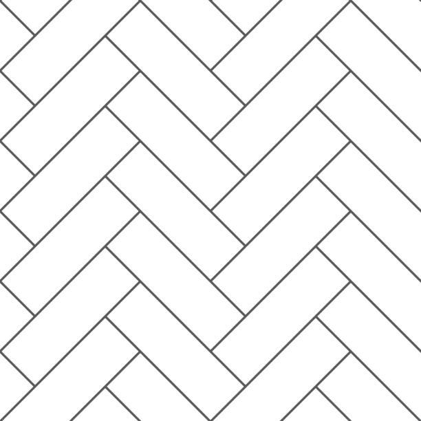 illustrazioni stock, clip art, cartoni animati e icone di tendenza di outline vintage wooden floor herringbone parquet vector seamless pattern - zigzag
