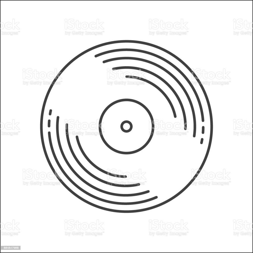Outline Vinyl disc icon. Logo for web or app. Outline style. Disco music vinyl isolated on white background. Illustration vector art illustration