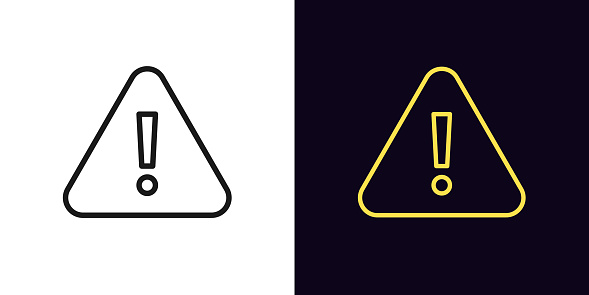 Outline warning icon. Glowing neon warning sign, exclamation mark with editable stroke. Important notification, urgent attention, caution error. Vector icon, sign, symbol for UI and Animation