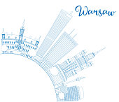 Outline Warsaw skyline with blue buildings and copy space. Vector illustration. Business travel and tourism concept with modern buildings. Image for presentation, banner, placard and web site.