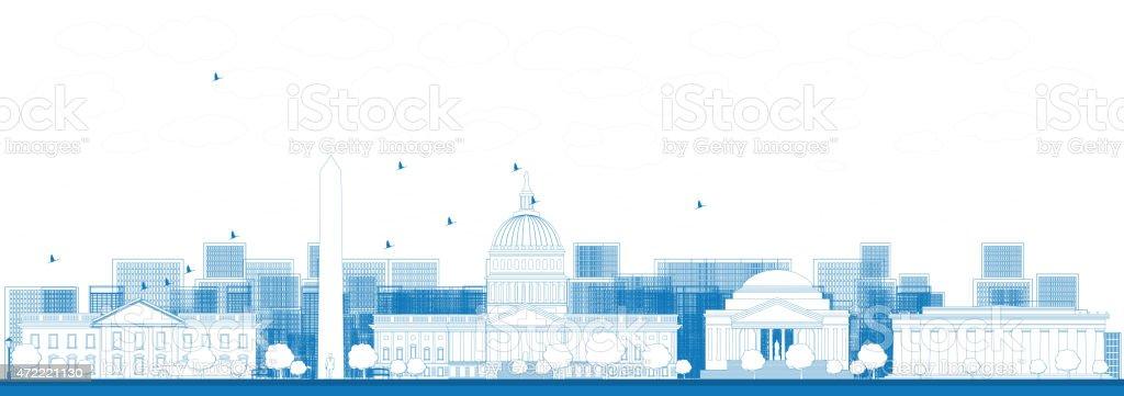 Outline Washington DC city skyline. vector art illustration