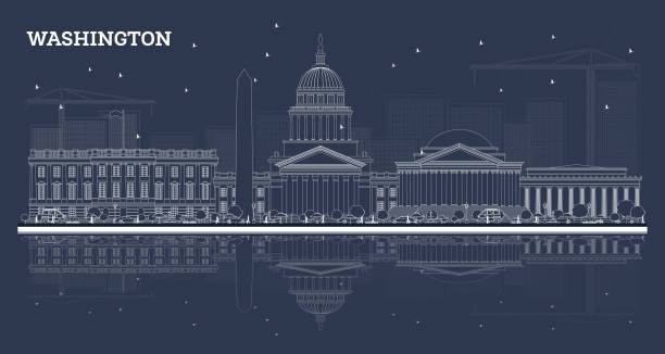 Outline Washington DC Skyline with White Buildings and Reflections. Outline Washington DC Skyline with White Buildings and Reflections. Vector Illustration. Business Travel and Tourism Concept with Historic Buildings. Washington DC Cityscape with Landmarks. washington dc stock illustrations