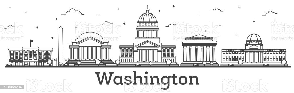 Outline Washington DC USA City Skyline with Modern Buildings Isolated on White. vector art illustration