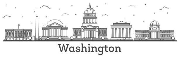 Outline Washington DC USA City Skyline with Modern Buildings Isolated on White. Outline Washington DC USA City Skyline with Modern Buildings Isolated on White. Vector Illustration. Washington DC Cityscape with Landmarks. washington dc stock illustrations