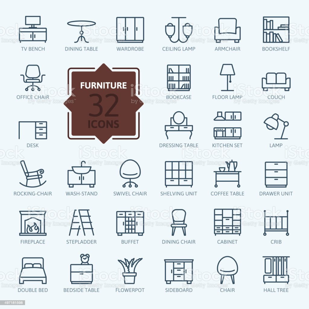 Outline web icon collection - furniture vector art illustration