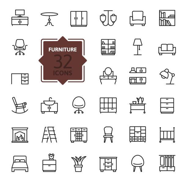 ilustrações de stock, clip art, desenhos animados e ícones de contorno do ícone de web de coleção de mobiliário - sideboard