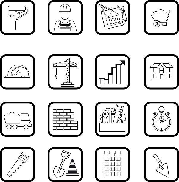 Outline web icon set. Building, construction vector tools vector art illustration
