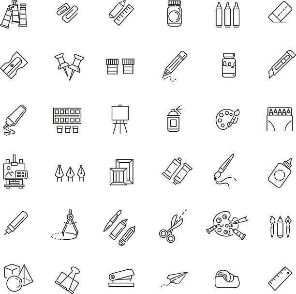 outline web icon set - drawing tools - arts icons stock illustrations, clip art, cartoons, & icons