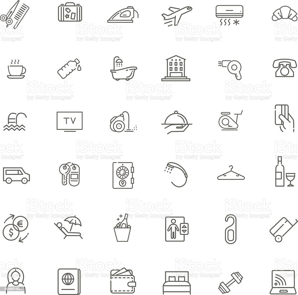 Outline web icon set - Hotel services vector art illustration