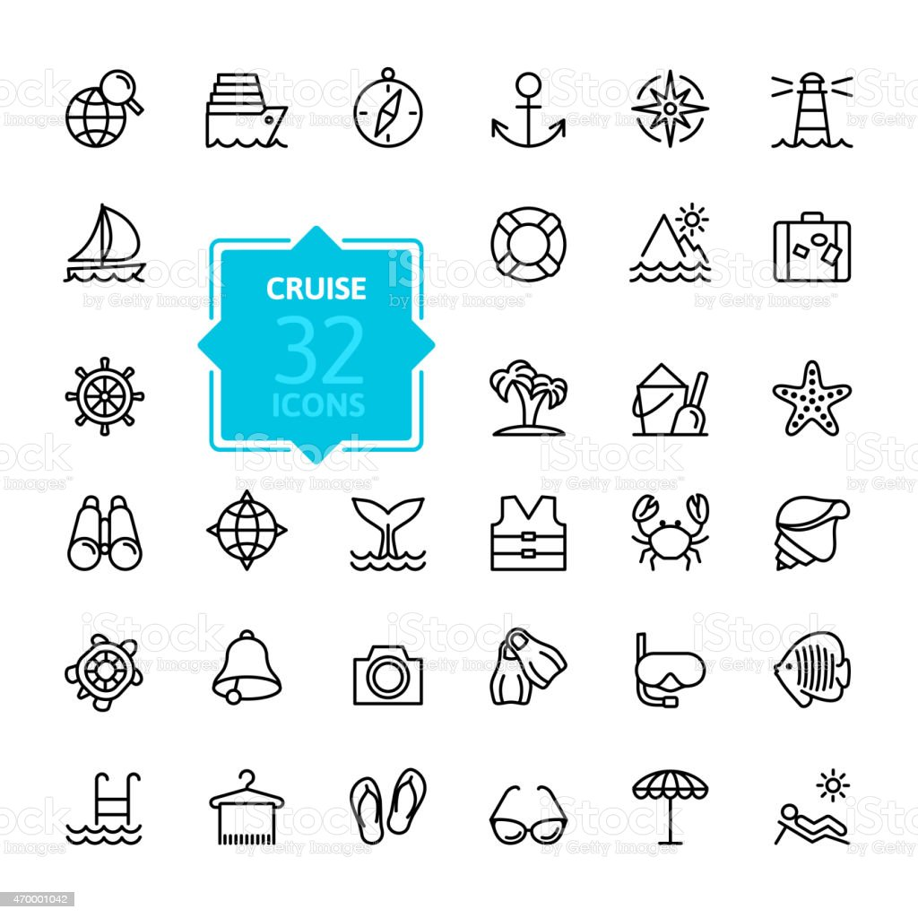 Outline web icon set - journey, vacation, cruise vector art illustration