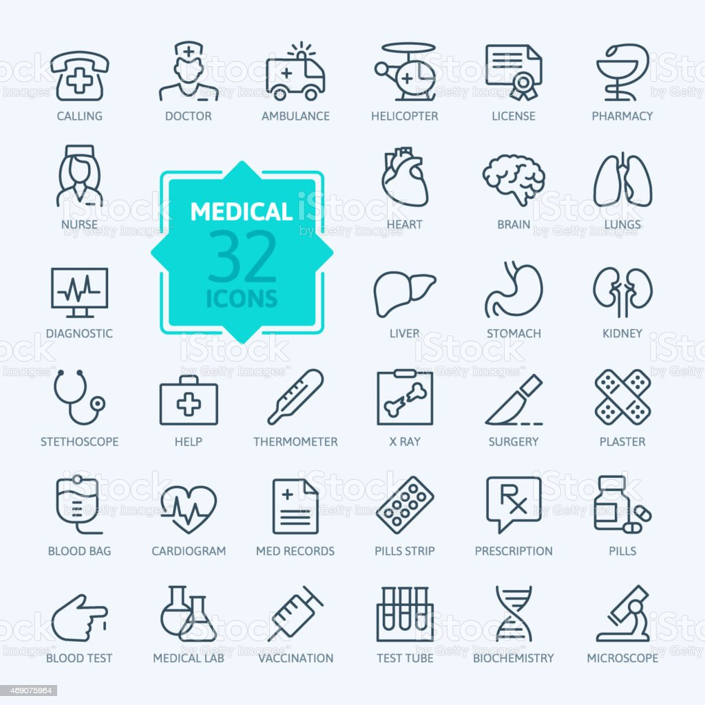 Outline web icon set - Medicine and Health symbols vector art illustration