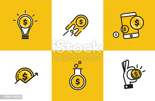 Outline web icon set - money, finance, payments. Logo object with dollar coin. Vector cartoon illustration