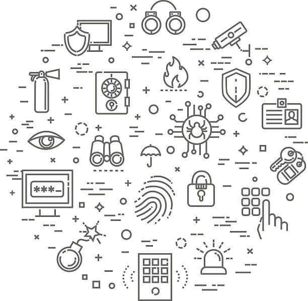 illustrations, cliparts, dessins animés et icônes de outline web icon set - security and technology - polices ligne fine