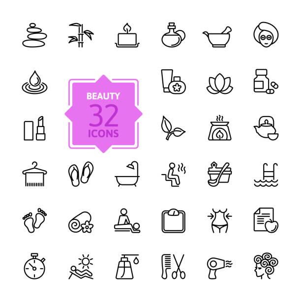 ilustrações de stock, clip art, desenhos animados e ícones de contorno web conjunto de ícones de spa beleza & - mulher natureza flores e piscina