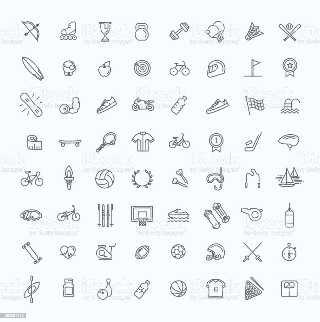 Outline web icon set - sport and fitness royalty-free outline web icon set sport and fitness stock illustration - download image now