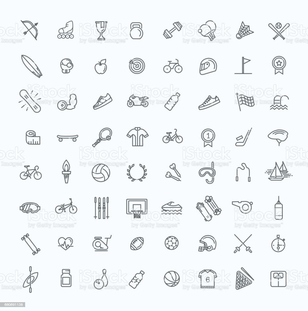 Contour web icon set-sport et de remise en forme - Illustration vectorielle