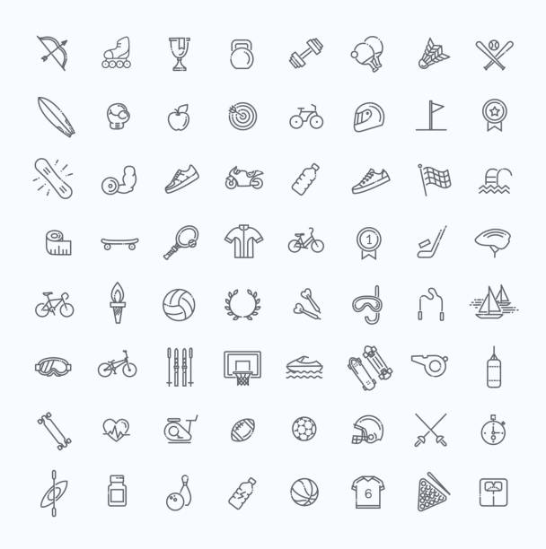 Outline web icon set - sport and fitness vector art illustration