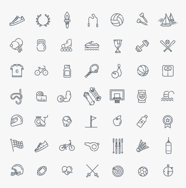 Outline web icon set - sport and fitness Outline web vector outline icon set - sport and fitness hobbies stock illustrations