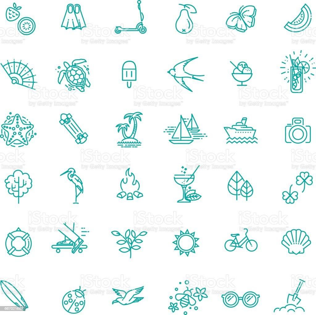 Outline web icon set - summer, vacation, beach vector art illustration
