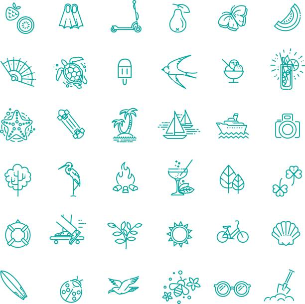 Outline web icon set - summer, vacation, beach summer icon set. vacation at sea and traveling collection. Thin line design heron stock illustrations