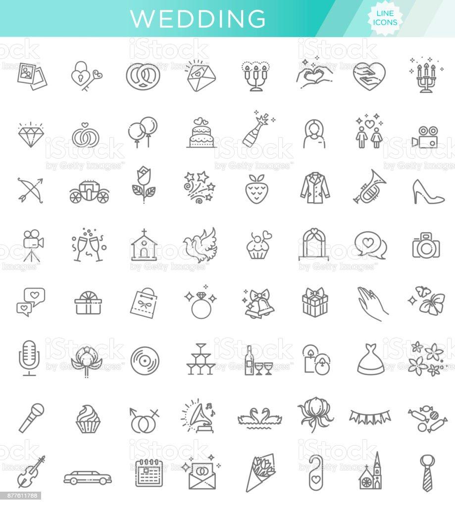 Contour ensemble de icône Web de mariage - Illustration vectorielle