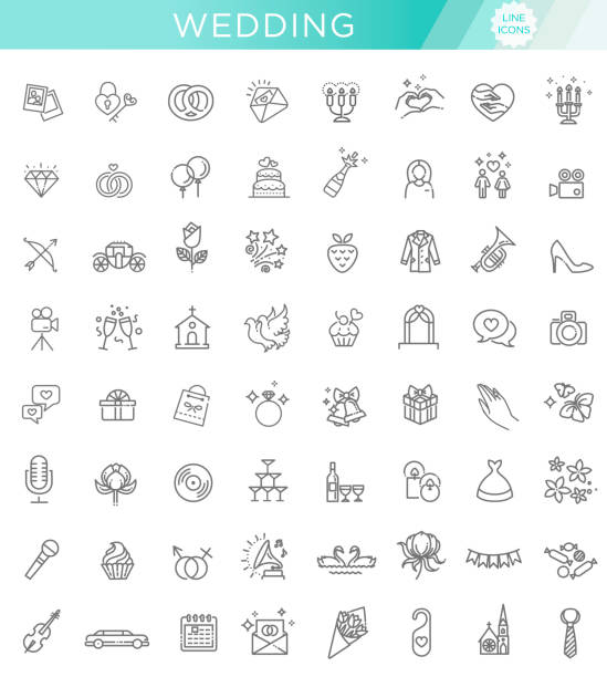 outline web icon set wedding - marriage stock illustrations