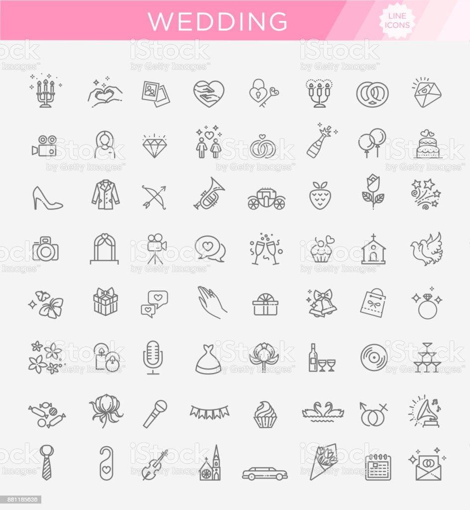 Outline web icon set wedding vector art illustration