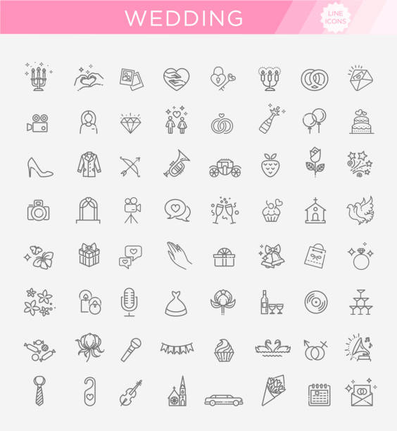 kontur-symbol-set hochzeit - kirchenschmuck stock-grafiken, -clipart, -cartoons und -symbole