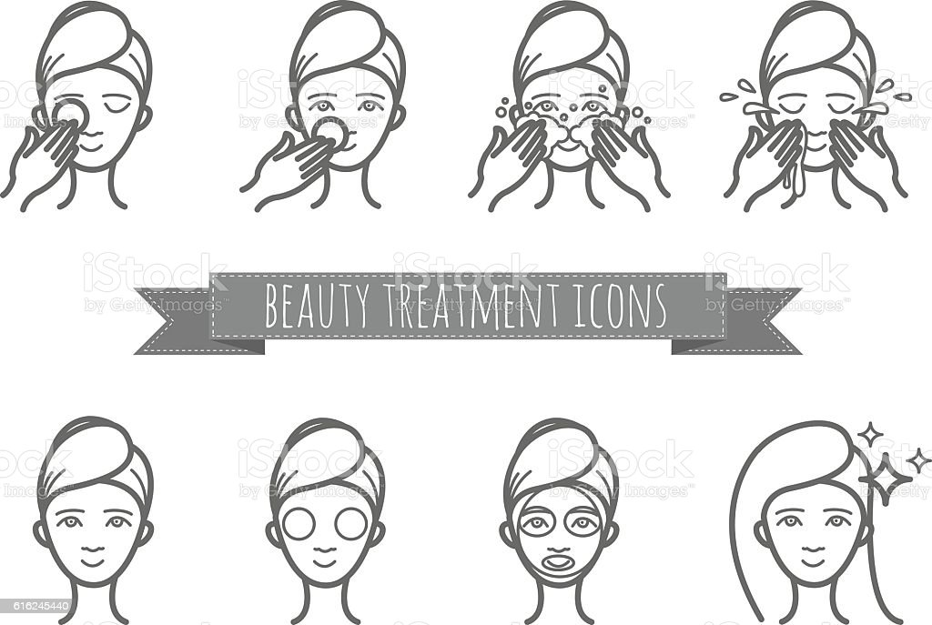 outline web icons - beauty treatment, face care, mask vector art illustration